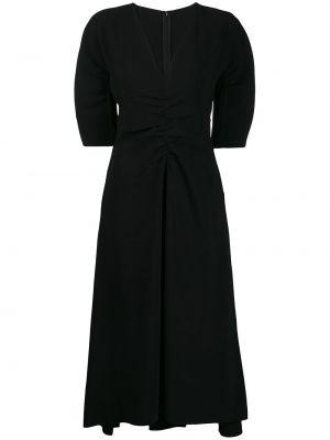 Czarna sukienka rozkloszowana z dekoltem w serek N°21