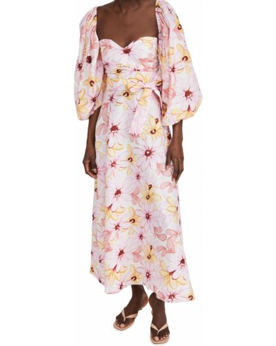 Льняное розовое платье с поясом Sundress