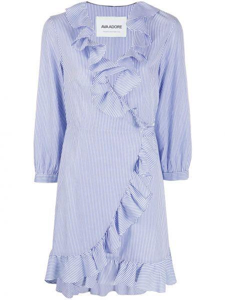 С рукавами синее платье макси с запахом Ava Adore