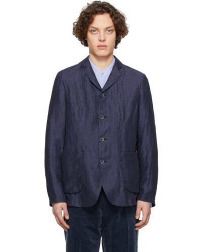 Синий удлиненный пиджак с накладными карманами с воротником Giorgio Armani