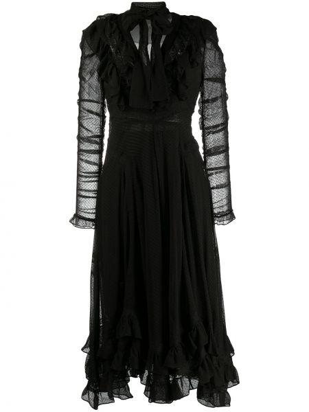 Платье с V-образным вырезом черное Zimmermann
