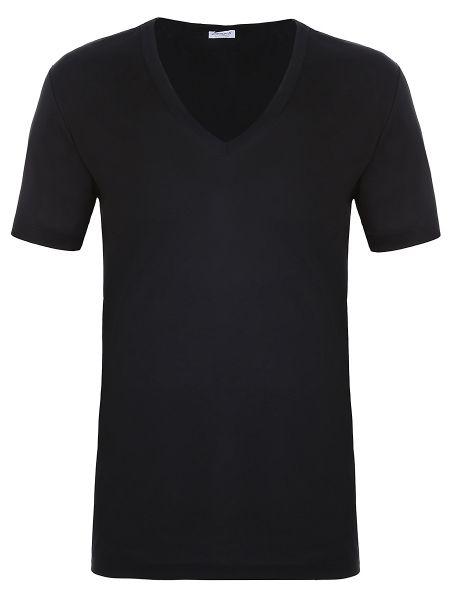 Хлопковая черная базовая футболка с V-образным вырезом Zimmerli