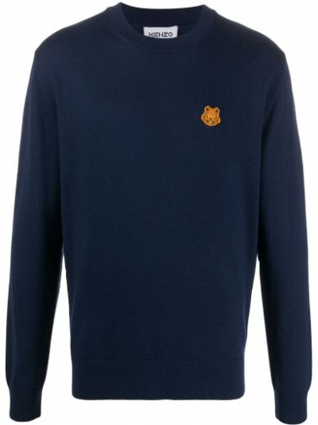 Wełniany niebieski sweter Kenzo