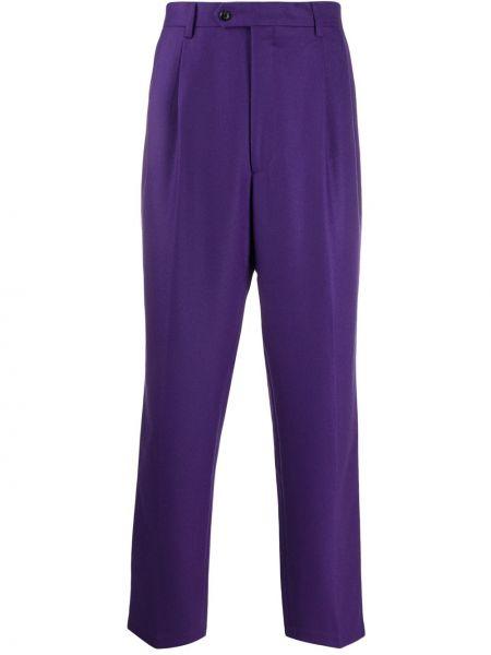 Fioletowe spodnie wełniane z paskiem Lc23