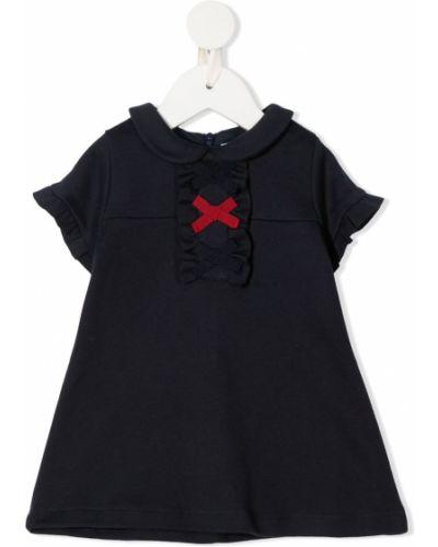 Черное платье с рукавами круглое с воротником с круглым вырезом Patachou