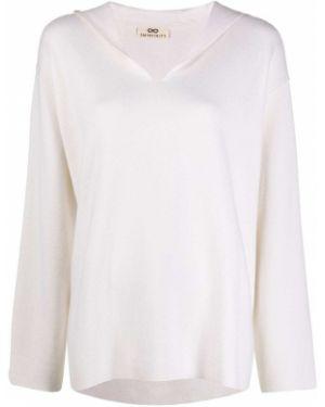 Белый кашемировый свитер с V-образным вырезом свободного кроя Sminfinity
