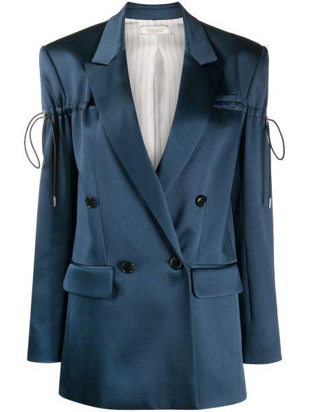 Синий удлиненный пиджак двубортный с подкладкой Nina Ricci