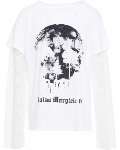 Biały top koronkowy bawełniany Mm6 Maison Margiela