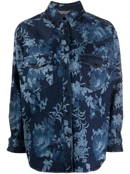Синяя с рукавами джинсовая рубашка с воротником Etro