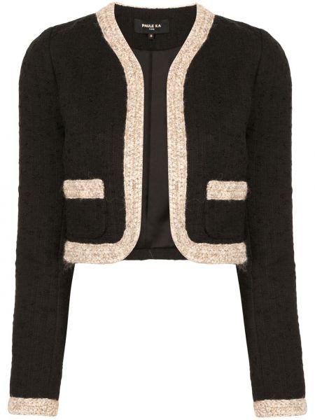 Черная длинная куртка с опушкой твидовая с карманами Paule Ka