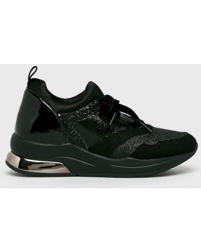 Кожаные кроссовки черные текстильные Liu Jo