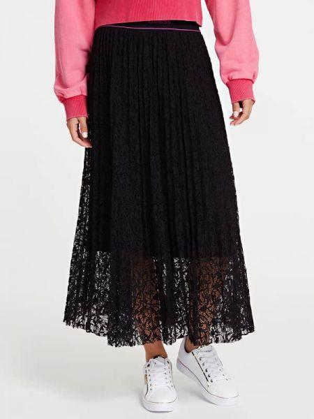 Czarna spódnica ołówkowa rozkloszowana koronkowa Guess