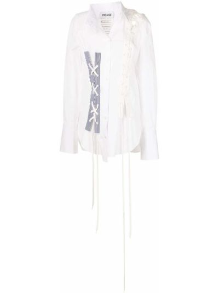 Biała koszula bawełniana koronkowa z długimi rękawami Monse