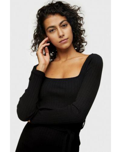 Вязаное черное платье Topshop