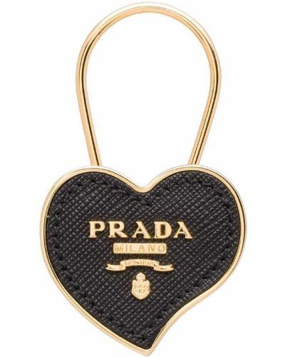 Skórzany brelok z logo Prada