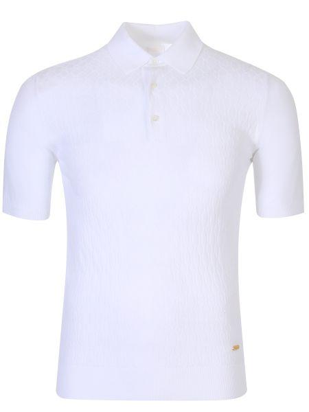 Хлопковое белое поло на пуговицах с короткими рукавами Castangia