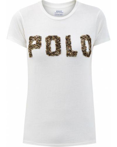 Хлопковый белый базовый топ с пайетками Polo Ralph Lauren