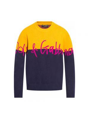Sweter wełniany - niebieski Dolce And Gabbana
