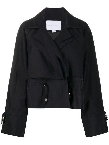 Хлопковая черная короткая куртка свободного кроя Noon By Noor
