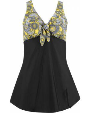 Желтое купальное платье с вырезом с чашками Bonprix