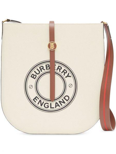 Skórzana torebka złoto z logo Burberry