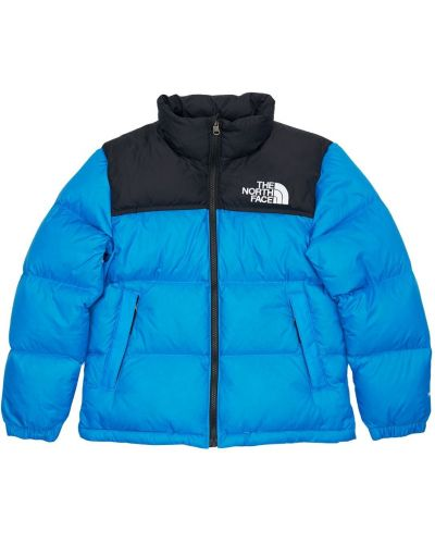 Niebieski puchaty kurtka z kieszeniami z mankietami The North Face