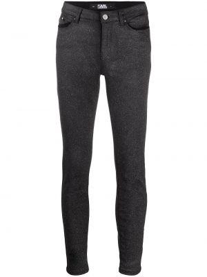 Облегающие черные джинсы-скинни на молнии Karl Lagerfeld