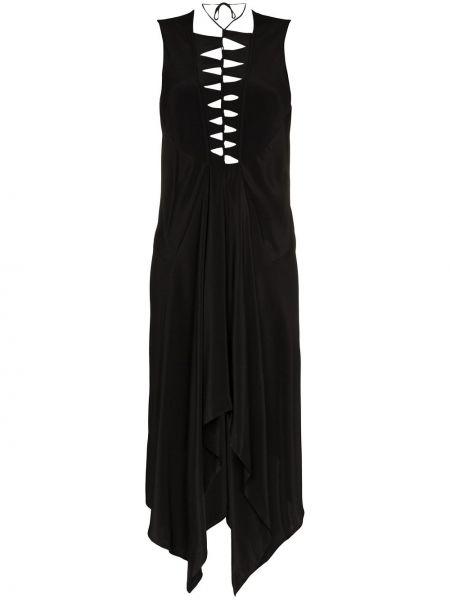 Черное асимметричное шелковое платье без рукавов Kitx