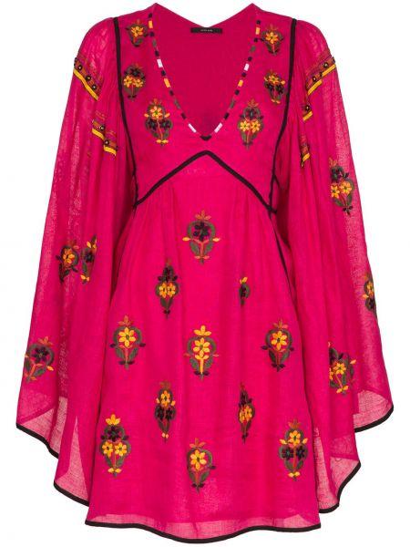 Льняное розовое платье мини с вышивкой Vita Kin