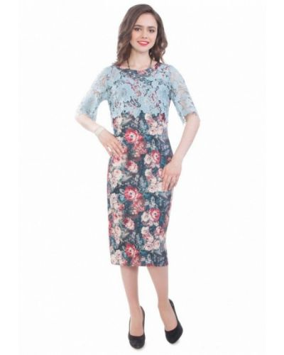 Синее вязаное платье Wisell
