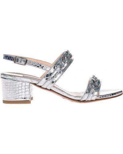 Босоножки на каблуке серебряный Albano