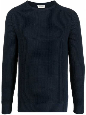 Prążkowany niebieski długi sweter bawełniany Bluemint