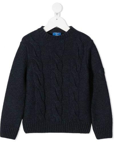 С рукавами синий свитер с круглым вырезом круглый Fay Kids
