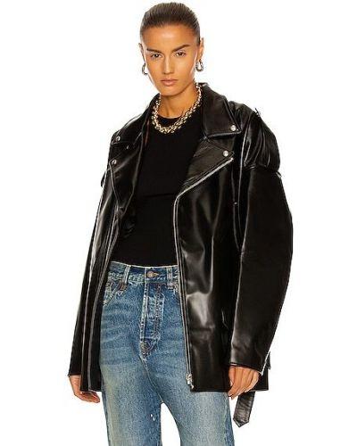 Кожаная куртка на молнии - черная R13