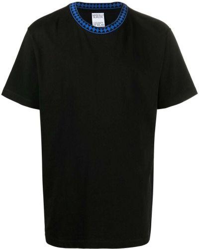 Czarny t-shirt bawełniany krótki rękaw Marcelo Burlon County Of Milan