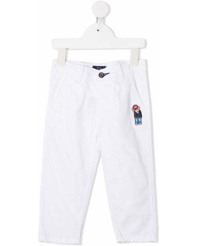 Белые брюки чиносы с вышивкой с карманами на молнии Harmont & Blaine Junior