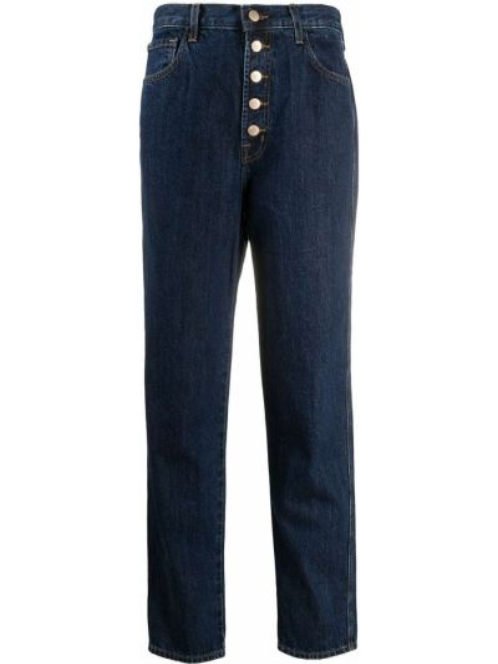 Классические хлопковые синие прямые джинсы на пуговицах J Brand