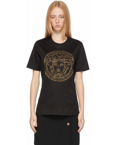Czarna złota t-shirt Versace