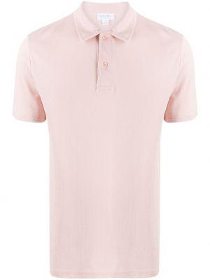 Розовая прямая рубашка с короткими рукавами с воротником на пуговицах Sunspel