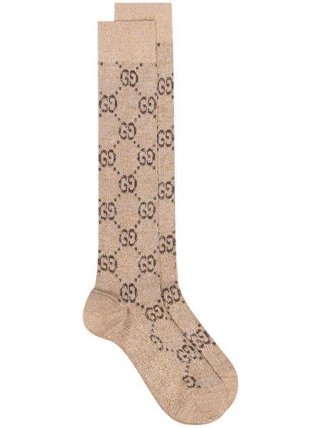 Brązowe skarpety bawełniane Gucci