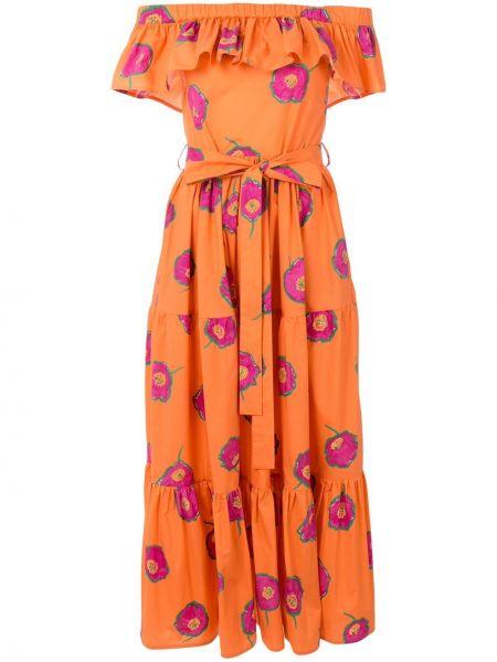 Платье миди с открытыми плечами приталенное La Doublej