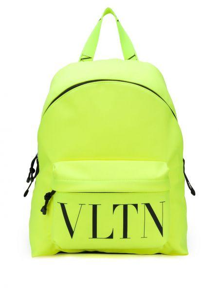 Żółty plecak z nylonu z printem Valentino