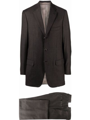Коричневый шерстяной костюм на пуговицах Brioni