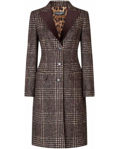 Brązowy długi płaszcz wełniany z długimi rękawami Dolce And Gabbana