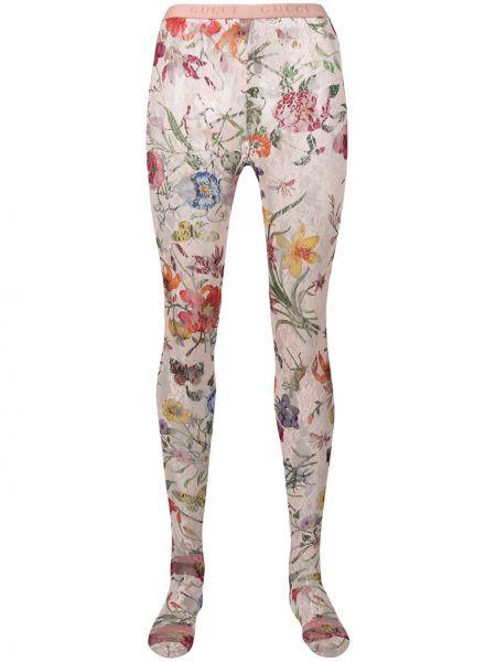 Rajstopy ażurowy z kwiatowym nadrukiem Gucci