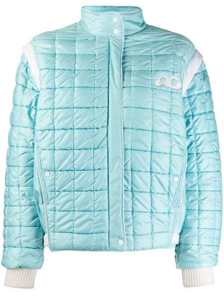 Прямая бирюзовая нейлоновая стеганая куртка для полных Courrèges Pre-owned