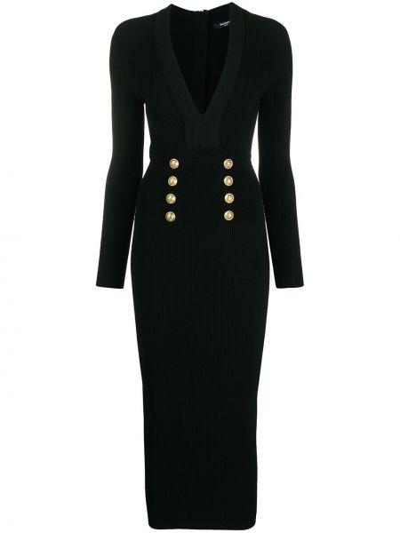 Czarna sukienka midi z długimi rękawami bawełniana Balmain