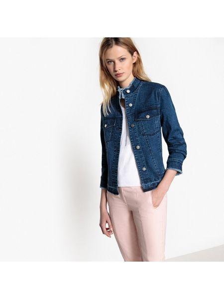 Джинсовая куртка укороченная с воротником стойкой Mademoiselle R