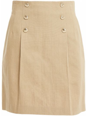 Желтая плиссированная юбка мини с карманами Sandro