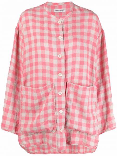 Розовый пиджак в клетку на пуговицах Henrik Vibskov